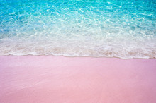 Soft Blue Ocean Wave On Pink Sandy Beach Summer Concept