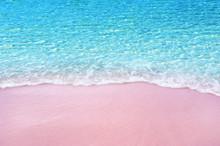 Soft Blue Ocean Wave On Pink Sandy Beach
