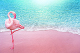 Fototapeta Łazienka - pink flamingo bird sandy beach and soft blue ocean wave summer concept background