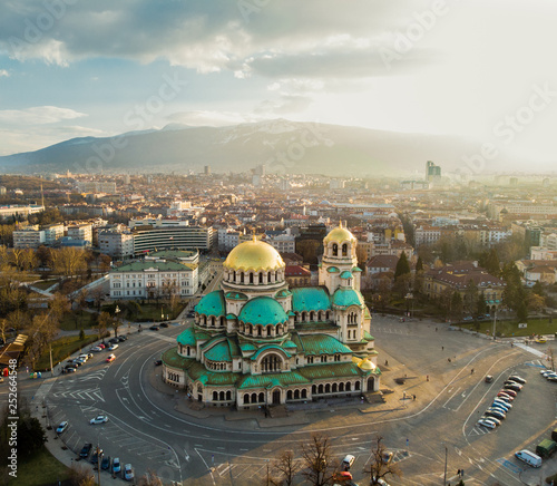 Orthodox Cathedral Alexander Nevsky, in Sofia, Bulgaria. Aerial photography in the sunset