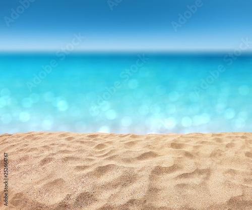 Türaufkleber Turkis beautiful sandy beach with blur ocean background summer concept