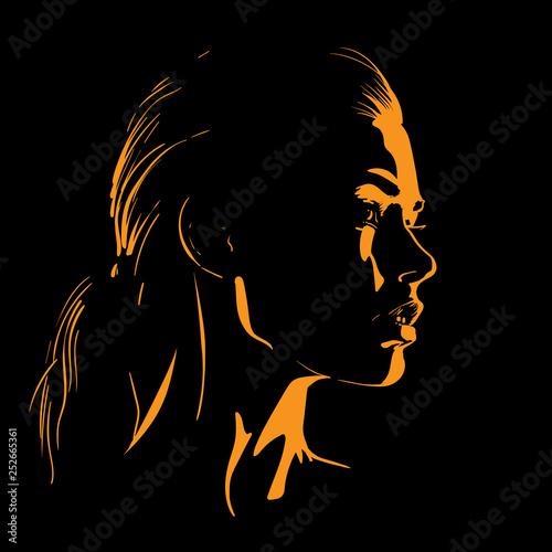 Fototapeta Beauty Woman Face silhouette in contrast backlight. Illustration. obraz