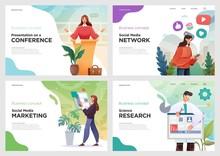 Set Of Website Template Designs. Vector Illustration Concepts Of Web Page Design For Website Or Landing Page And Mobile Website Development. Vector Illustration
