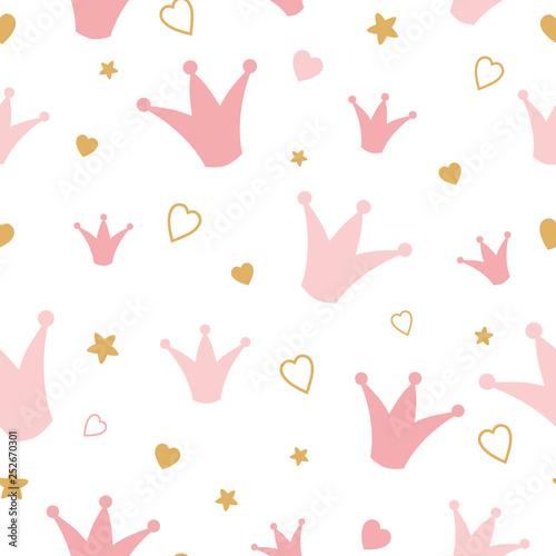 Powtarzające się korony i serca rysowane ręcznie różowy wzór Romantyczna dziewczyna wektor , tło