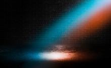 Dark Empty Stage, Blue And Orange Neon Spotlight, Wet Asphalt, Smoke, Night Shooting, Rays