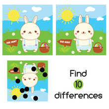 Find The Differences. Educational Children Game. Kids Activity Fun Page. Easter Bunny Going Egg Hunt