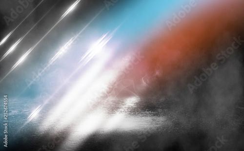 Fototapeta Dark empty stage, blue and orange neon spotlight, wet asphalt, smoke, night shooting, rays obraz na płótnie