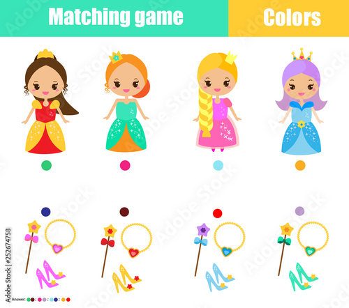 Matching children educational game. Match by color. Connect ...