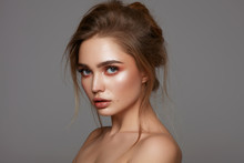 Portrait Of Young Pretty Girl With Fasionable Hairdo