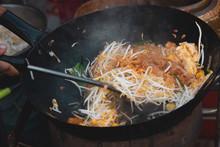 Thai Street Fast Food In Hot Pan, Pad Thai Thai Noodle