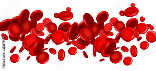 Cuadros en Lienzo Creative vector illustration of red blood cells stream, microbiological medical erythrocyte background