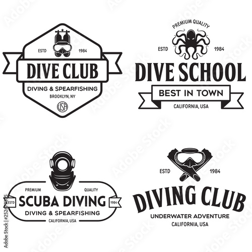 Set of Scuba diving club and diving school design. Concept for shirt or logo, print, stamp or tee. Vintage typography design with diving gear silhouette Wall mural