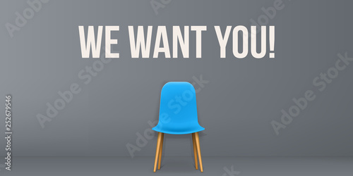 Fotografía Creative vector illustration of we are hiring - recruiting concept, resources job employment career jobless interview, chairs isolated on background