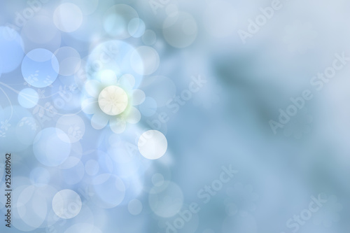 Sunny abstract bright blue bokeh spring or summer background texture with leaves. Space for your design. - 252680962