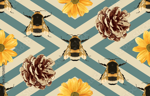 Cotton fabric Seamless pattern with chrysanthemum flowers, bees and pine cones.