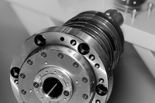 Spindle For Industrial Machinery. Black And White Toned