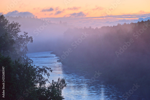 Poster Rivière de la forêt White nights and fog on the river North of Russia.