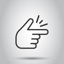 Finger Snap Icon In Flat Style. Fingers Expression Vector Illustration On White Background. Snap Gesture Business Concept.
