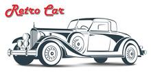 Retro Car Abstract Lines Vector. Vector Illustration