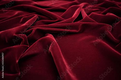 Dark red velvet fabric texture background. Canvas Print