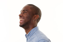 Side Portrait Of Laughing African American Man Looking Up