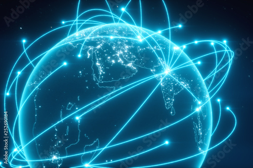World connections with city lights. Blue. Earth globe. Spinning Earth with light lines growing from major cities all over the world. 3d illustration
