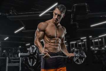 Fototapeta na wymiar Attractive tall muscular bodybuilder doing heavy deadlifts in moder fitness center