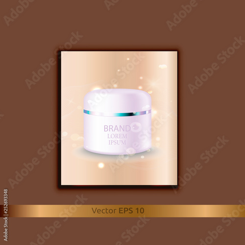 Realistic glass jar for cosmetics - body cream, butter