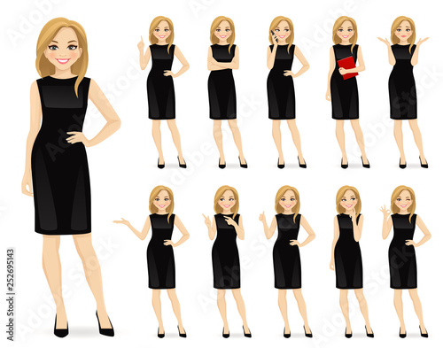 Stampa su Tela Young beautiful woman in black dress character in different poses set vector ill