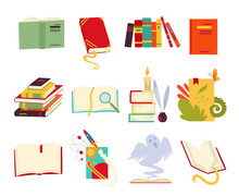Icons Of Books Vector Set Design Style With Dragon, Bird Feathers, Candle, Bookmark And Ribbon. Books In A Stack, Open, Closed. Historical, Scientific, Fantastic, Fairy Tales, Medieval, Vintage.