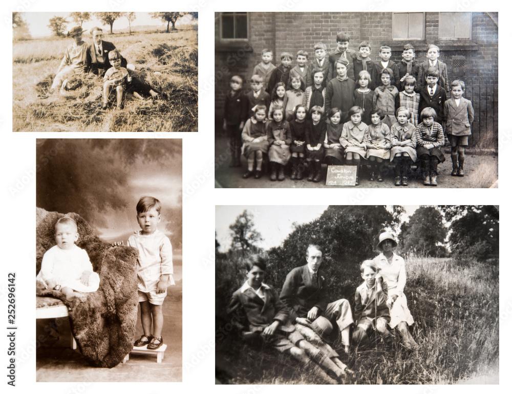 Fototapety, obrazy: 1870-1920. Portraits of English people. English family. Kids portrait. School's group photo 1927. London. Set of vintage photos.