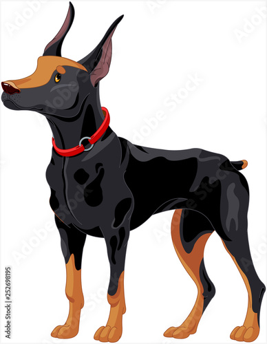 In de dag Sprookjeswereld Doberman guard dog