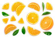 canvas print picture - orange with leaves isolated on white background. Top view. Flat lay