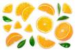 Leinwandbild Motiv orange with leaves isolated on white background. Top view. Flat lay