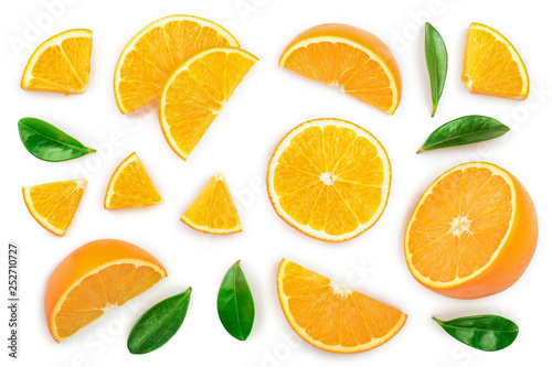 Obraz orange with leaves isolated on white background. Top view. Flat lay - fototapety do salonu
