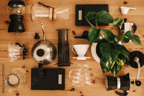 Stampa su Tela Alternative coffee brewing method set, flat lay