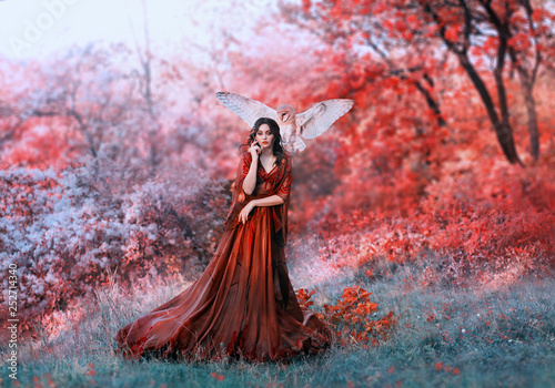 Photo  powerful autumn nymph, queen of fire and goddess of hot sun, lady in long red li