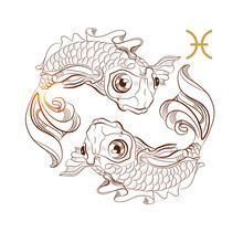Zodiac Sign Pisces Isolated On...