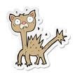 sticker of a cartoon scared cat