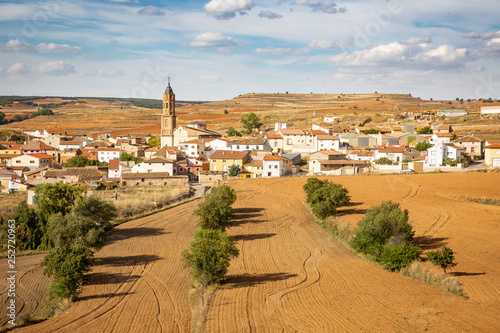 a view of Torrecilla del Rebollar town, province of Teruel, Aragon, Spain