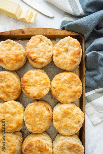 Buttermilk biscuits overhead Canvas Print