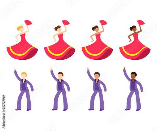 Dancer emoji icon set Wallpaper Mural