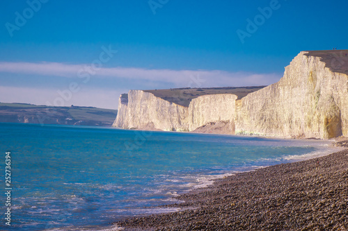Fotografie, Obraz  The white cliffs of Seven Sisters at the south coast of England