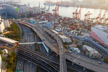 Top View Of Hong Kong Kwai Tsing Container Terminals