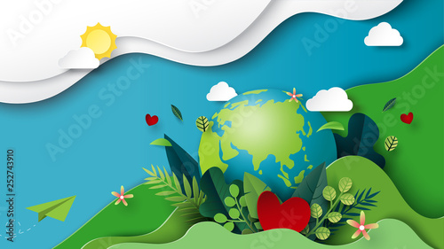 Photographie Paper art of green nature and earth day concept background template