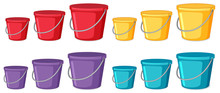 Set Of Different Coloured Buckets