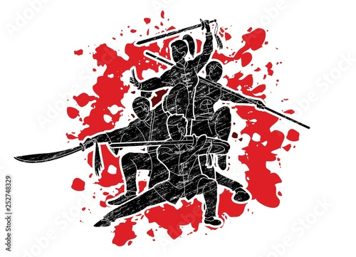 Valokuvatapetti Group of People Kung Fu fighter, Martial arts with weapons action cartoon graphic vector