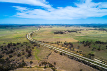 Hume Highway Winding Through Countryside . Cullerin, New South Wales, Australia