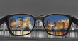 Glasses with city view, selected focus on lens, Color blindness glasses, Smart glass technology