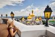 Leinwanddruck Bild - Tourist in Kiev Pechersk Lavra
